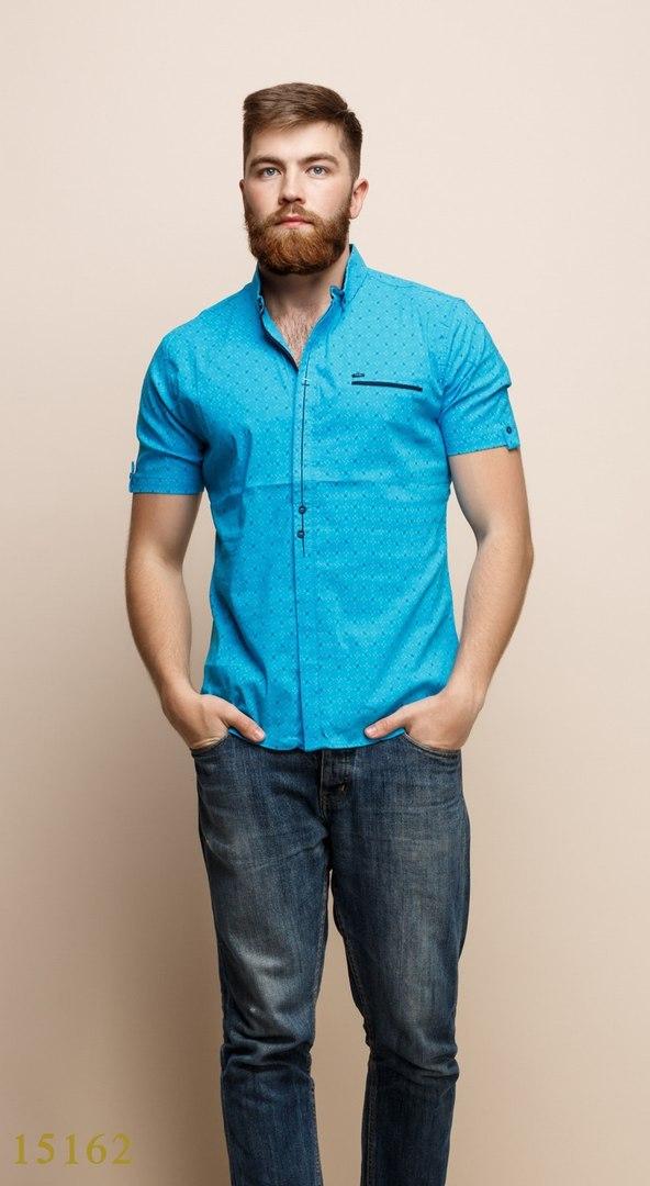 Рубашки мужские Турция оптом  1206133 15162