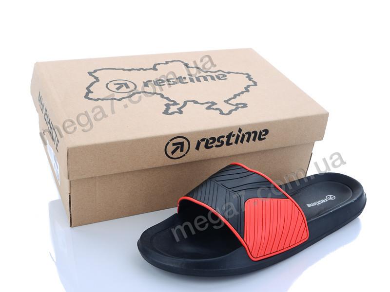 Шлепки, Restime оптом MML20003 black-red