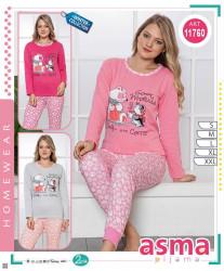 Ночные пижамы женские ASMA на байке оптом 90534718 11760-1