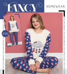 Ночные пижамы женские на флисе FANCY оптом 74016892 9126-55