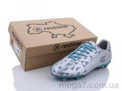 Футбольная обувь, Restime оптом DMB21413-2 silver-cyan