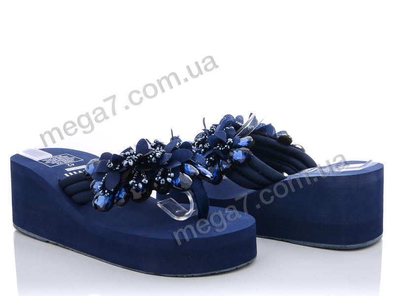 Шлепки, Diana оптом Шлепки 6см. камни ткань синие АКЦИЯ