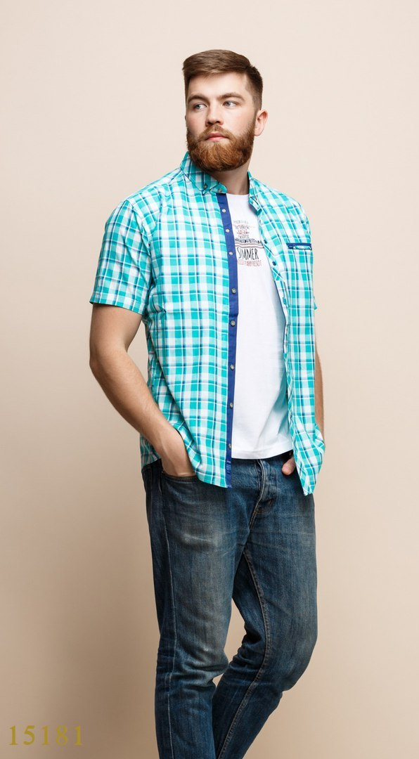 Рубашки с майкой обманкой мужские Турция оптом  1206133 15181