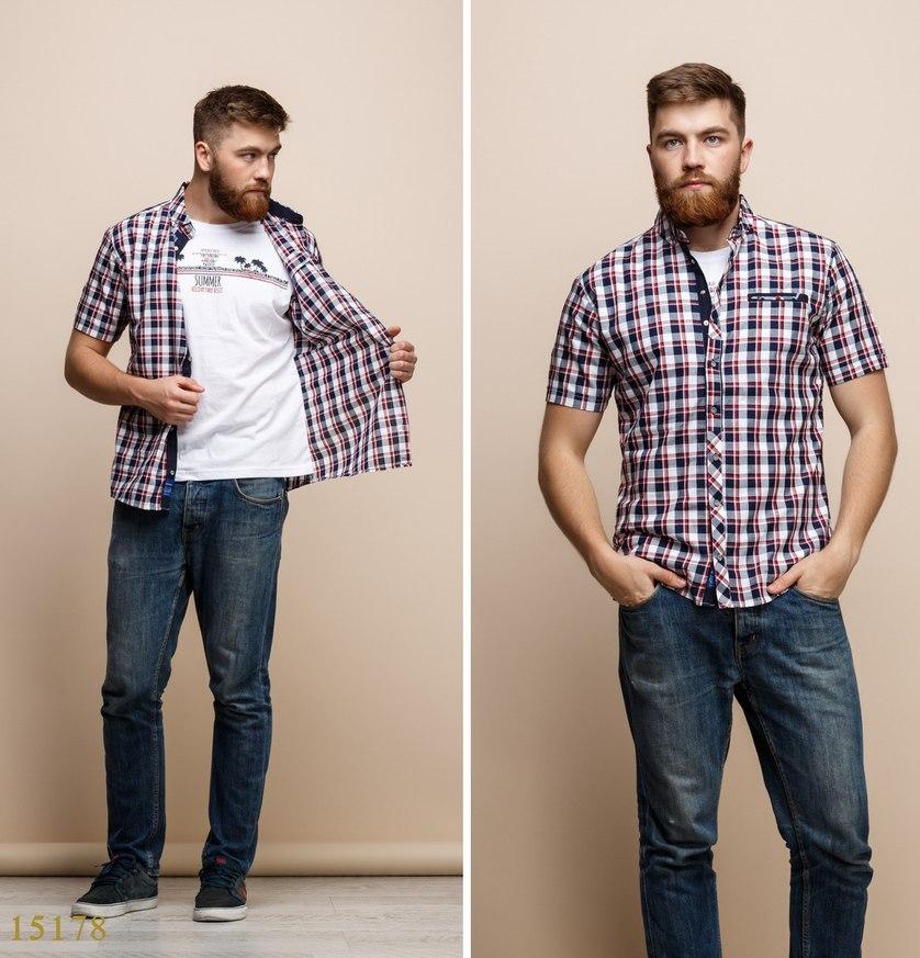 Рубашки с майкой обманкой мужские Турция оптом  1206133 15178