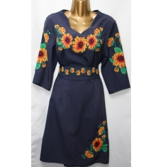 Платье вышитое женское оптом Батал 14071353 055