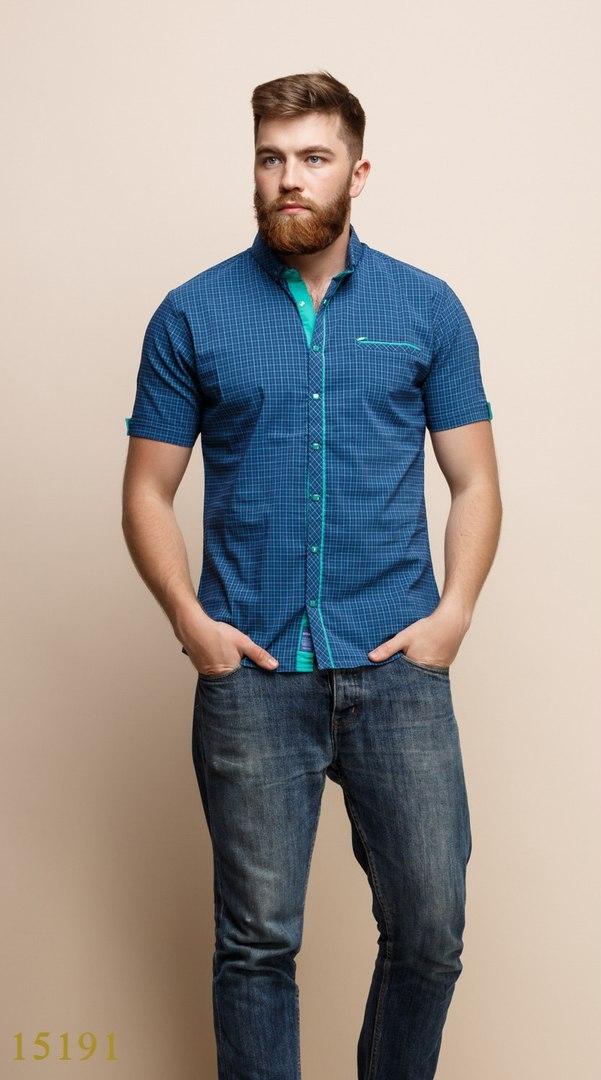 Рубашки мужские Турция оптом  1206133 15191