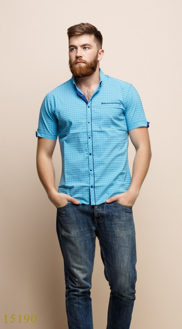 Рубашки мужские Турция оптом 19324875 15190