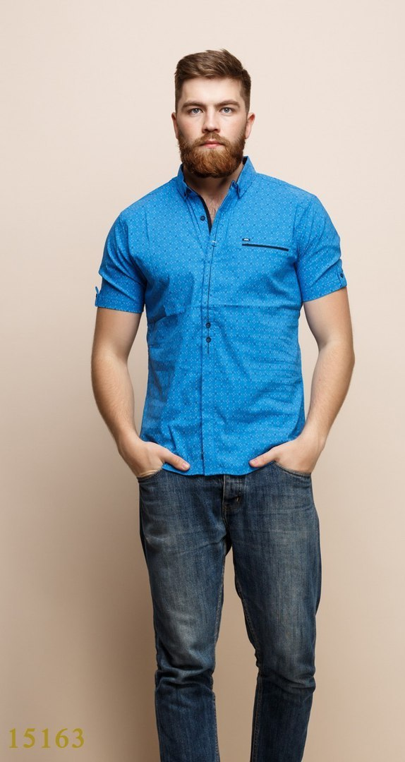 Рубашки мужские Турция оптом  1206133 15163