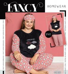 Ночные пижамы женские на флисе FANCY БАТАЛ оптом 12984607 9141-59