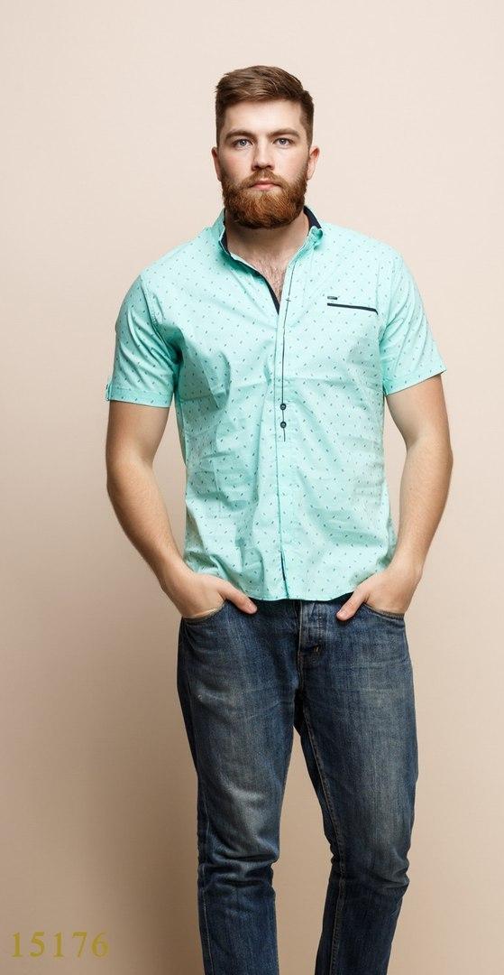 Рубашки мужские Турция оптом  1206133 15176