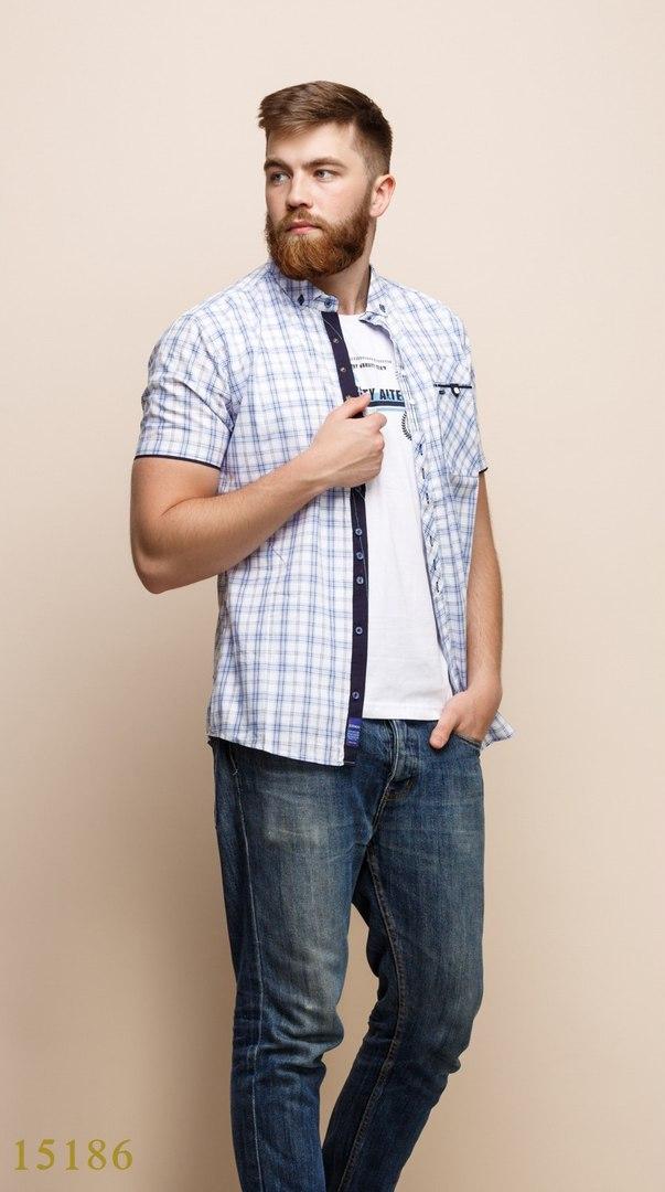 Рубашки с майкой обманкой мужские Турция оптом  1206133 15186